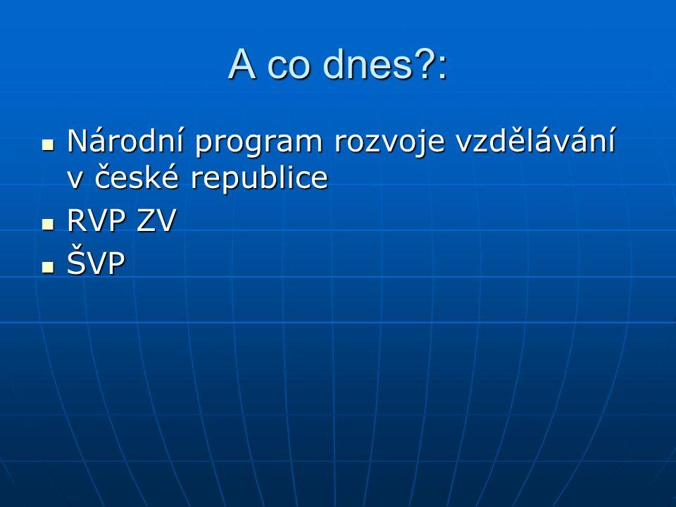 A co dnes : Národní program rozvoje vzdělávání v české republice