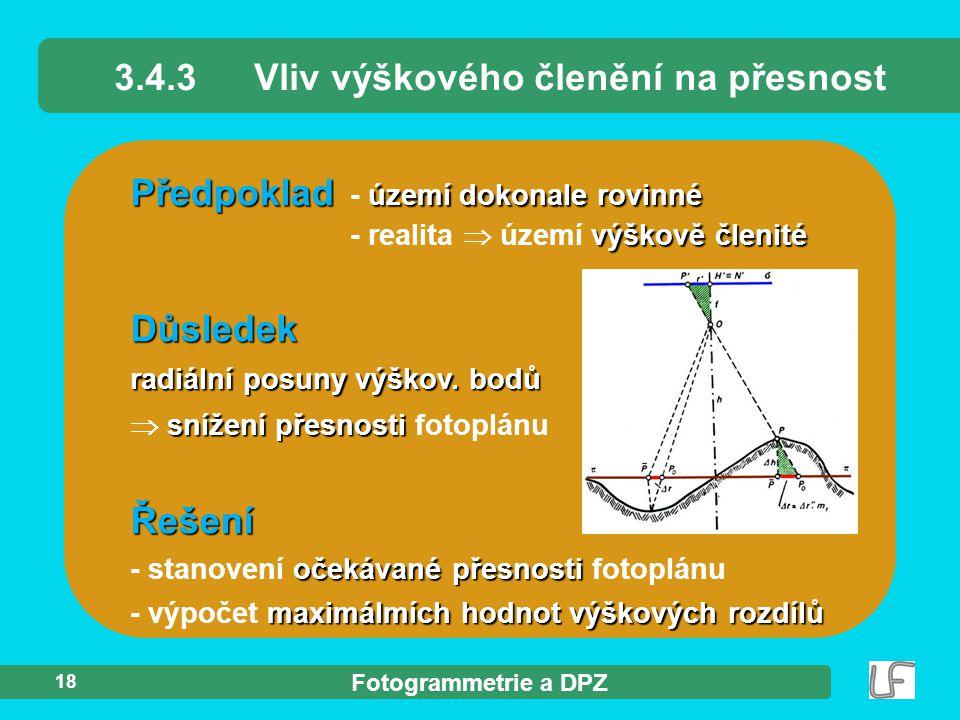 3.4.3 Vliv výškového členění na přesnost