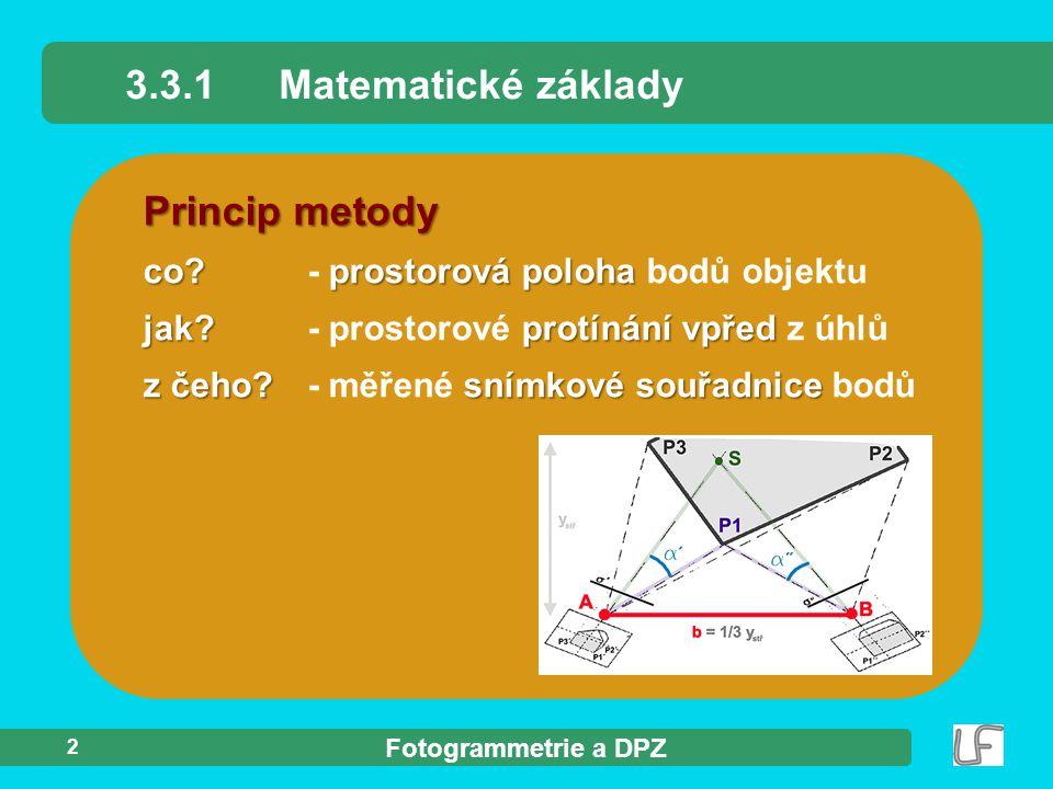 3.3.1 Matematické základy Princip metody