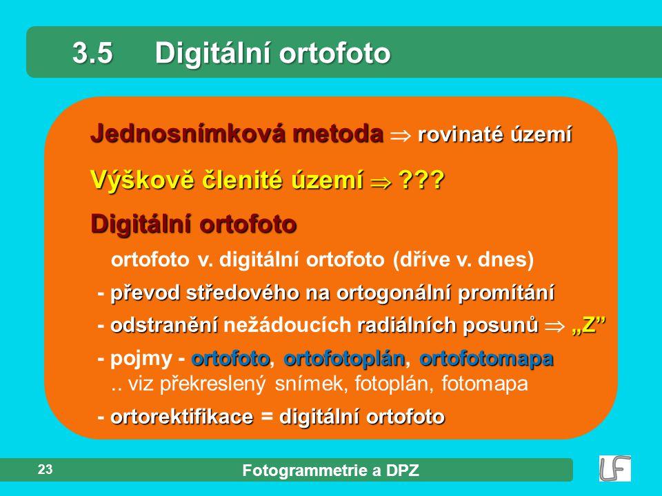 3.5 Digitální ortofoto Jednosnímková metoda  rovinaté území