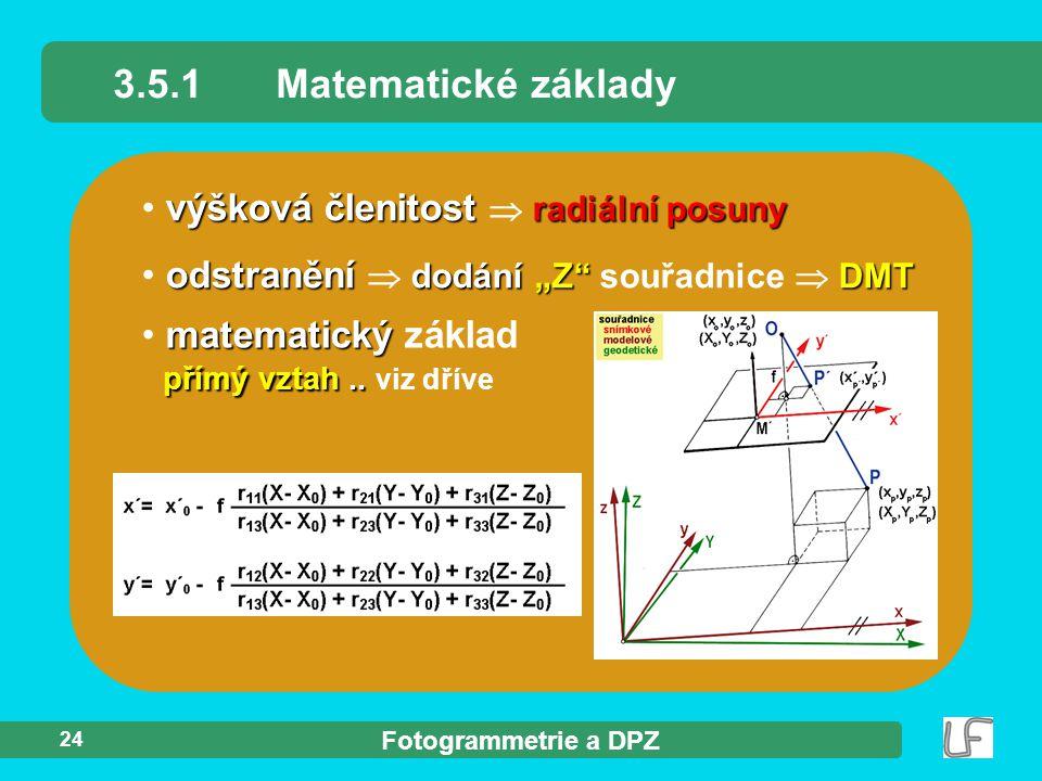 3.5.1 Matematické základy výšková členitost  radiální posuny