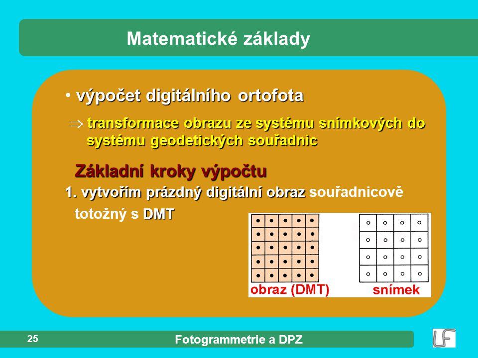 Matematické základy výpočet digitálního ortofota