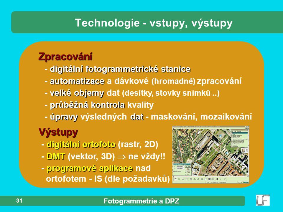 Technologie - vstupy, výstupy