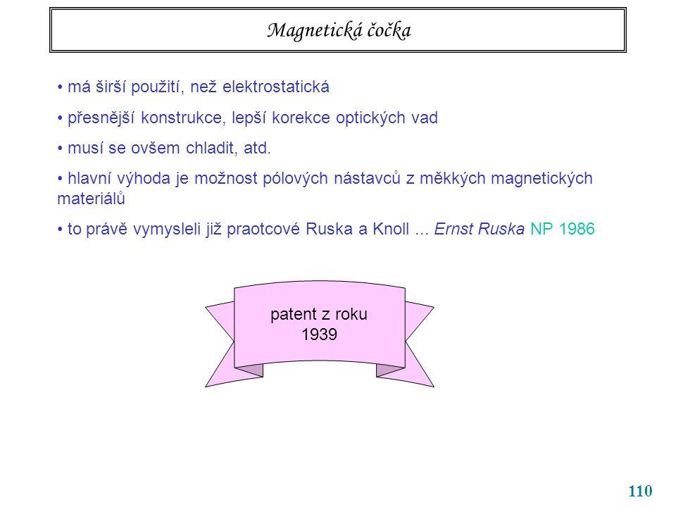 Magnetická čočka má širší použití, než elektrostatická