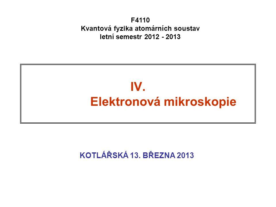 IV. Elektronová mikroskopie