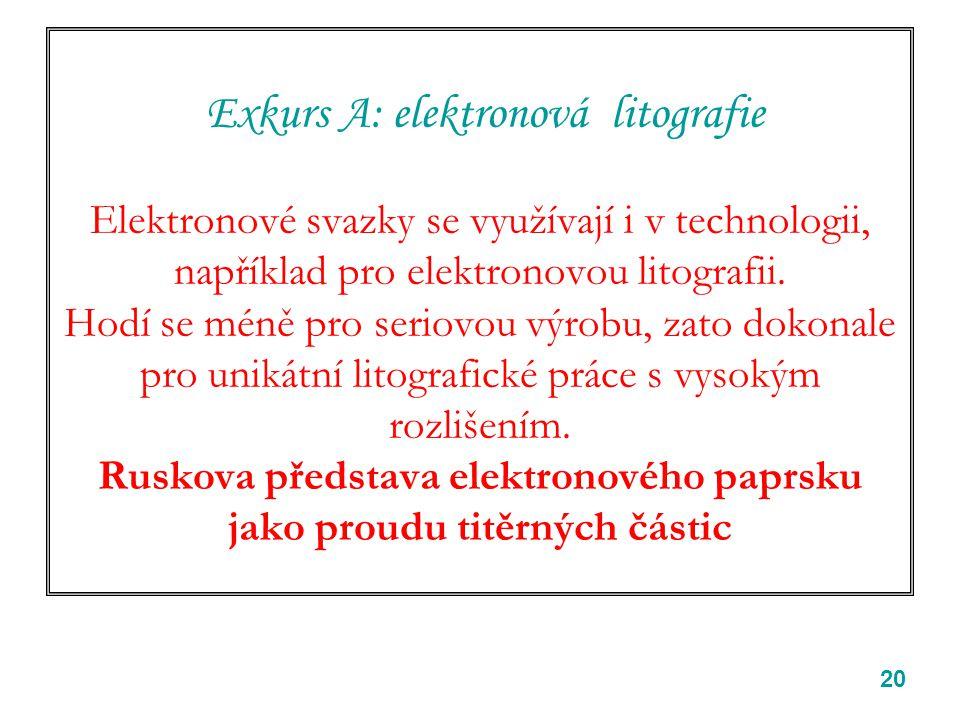 Exkurs A: elektronová litografie Elektronové svazky se využívají i v technologii, například pro elektronovou litografii.