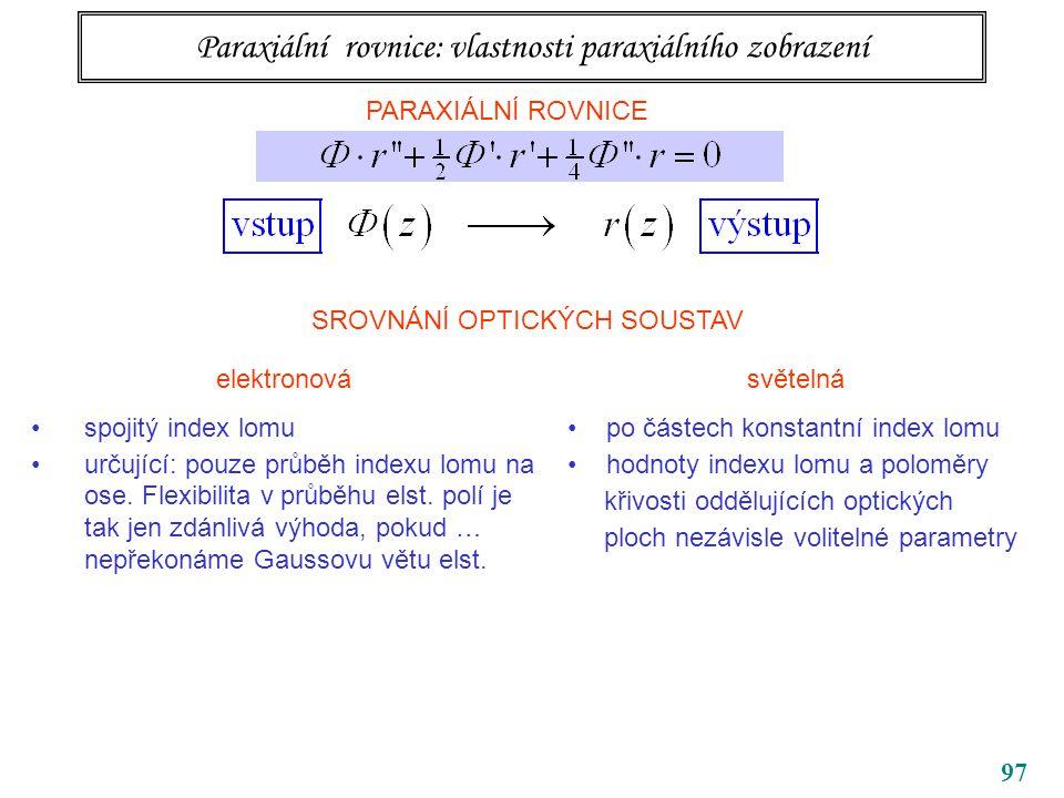 Paraxiální rovnice: vlastnosti paraxiálního zobrazení