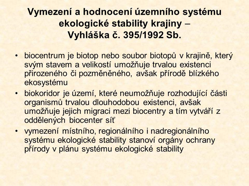 Vymezení a hodnocení územního systému ekologické stability krajiny – Vyhláška č. 395/1992 Sb.