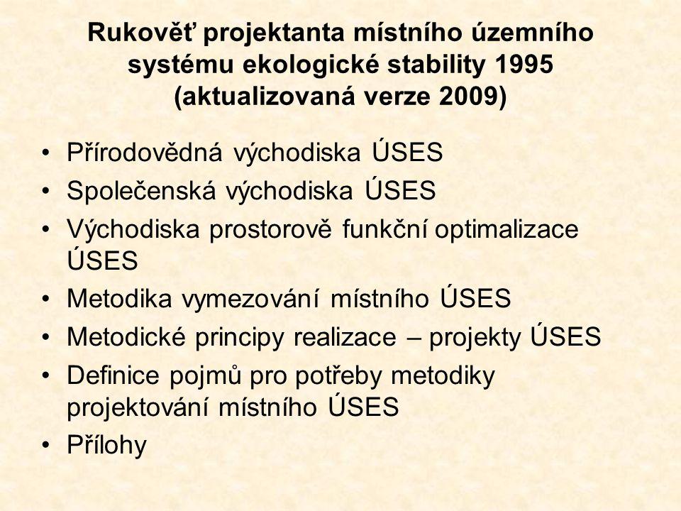 Rukověť projektanta místního územního systému ekologické stability 1995 (aktualizovaná verze 2009)