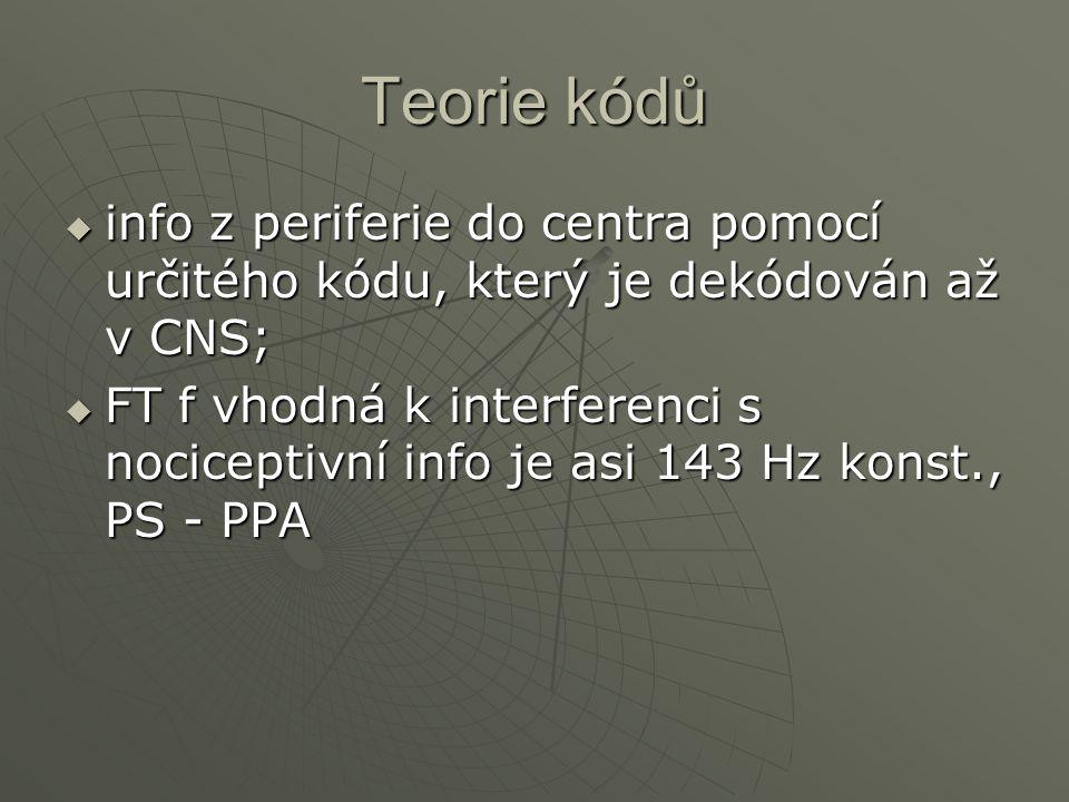 Teorie kódů info z periferie do centra pomocí určitého kódu, který je dekódován až v CNS;