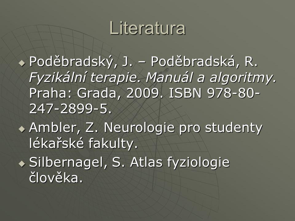 Literatura Poděbradský, J. – Poděbradská, R. Fyzikální terapie. Manuál a algoritmy. Praha: Grada, 2009. ISBN 978-80-247-2899-5.