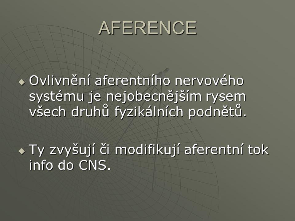AFERENCE Ovlivnění aferentního nervového systému je nejobecnějším rysem všech druhů fyzikálních podnětů.