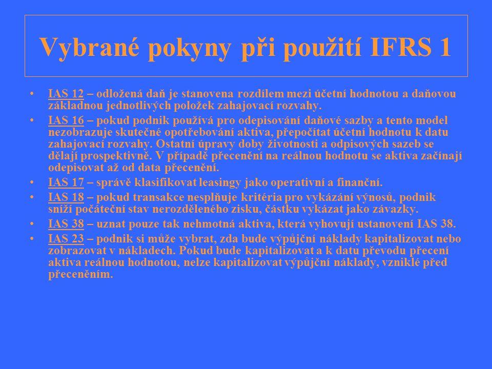 Vybrané pokyny při použití IFRS 1