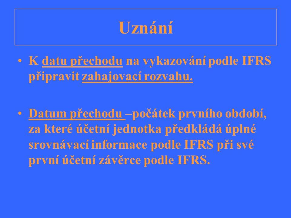 Uznání K datu přechodu na vykazování podle IFRS připravit zahajovací rozvahu.