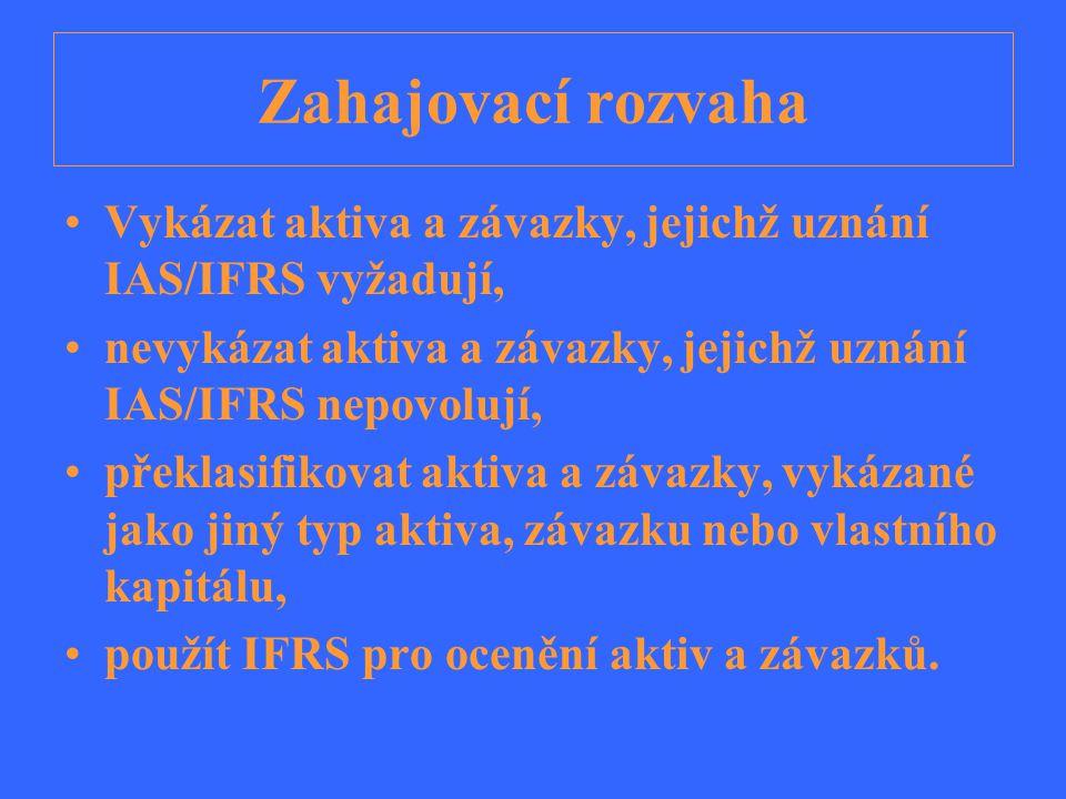 Zahajovací rozvaha Vykázat aktiva a závazky, jejichž uznání IAS/IFRS vyžadují, nevykázat aktiva a závazky, jejichž uznání IAS/IFRS nepovolují,