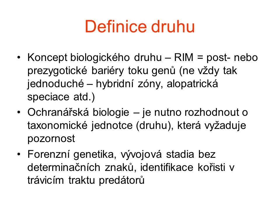 Definice druhu