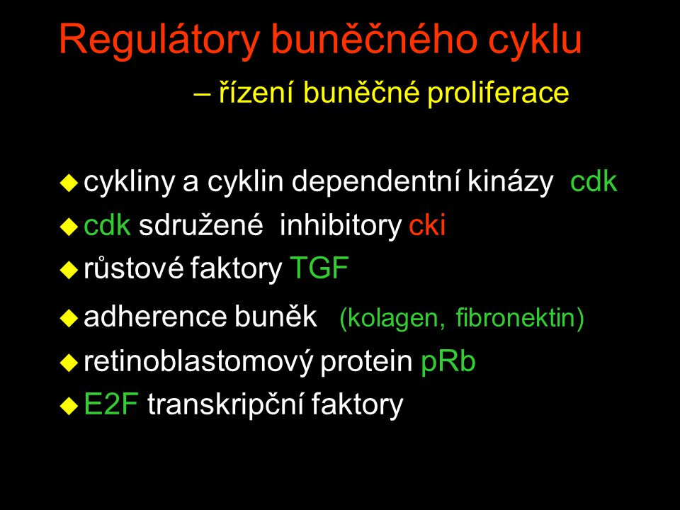 Regulátory buněčného cyklu – řízení buněčné proliferace