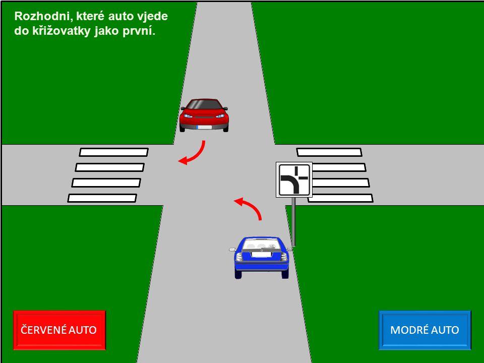 Rozhodni, které auto vjede do křižovatky jako první.