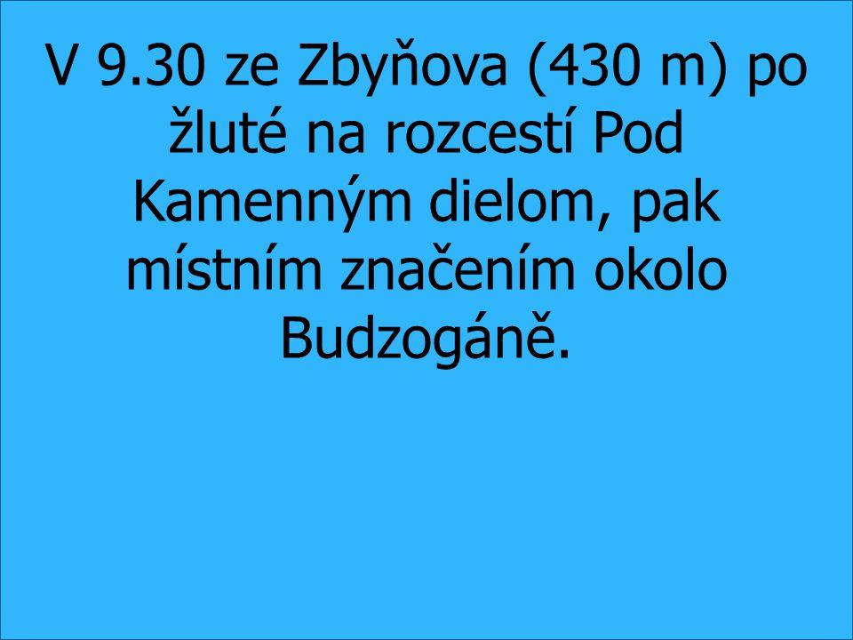 V 9.30 ze Zbyňova (430 m) po žluté na rozcestí Pod Kamenným dielom, pak místním značením okolo Budzogáně.