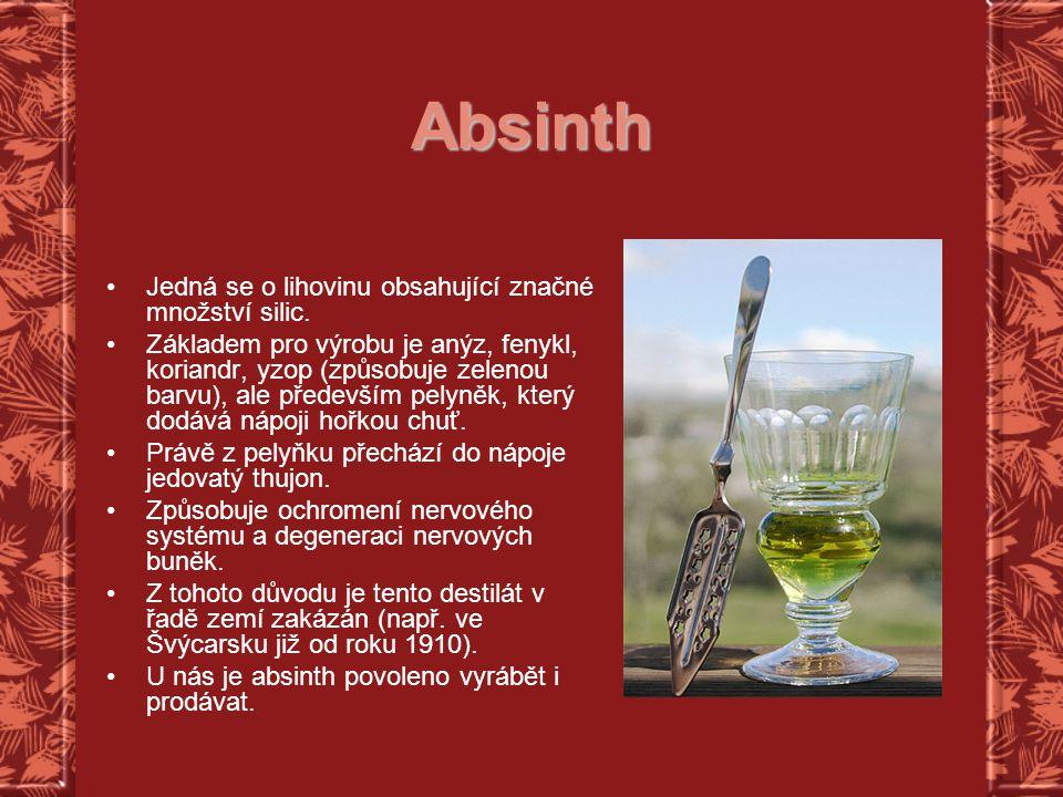 Absinth Jedná se o lihovinu obsahující značné množství silic.