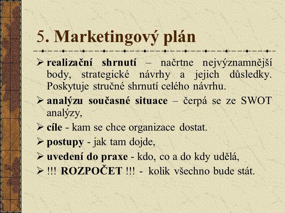 5. Marketingový plán realizační shrnutí – načrtne nejvýznamnější body, strategické návrhy a jejich důsledky. Poskytuje stručné shrnutí celého návrhu.