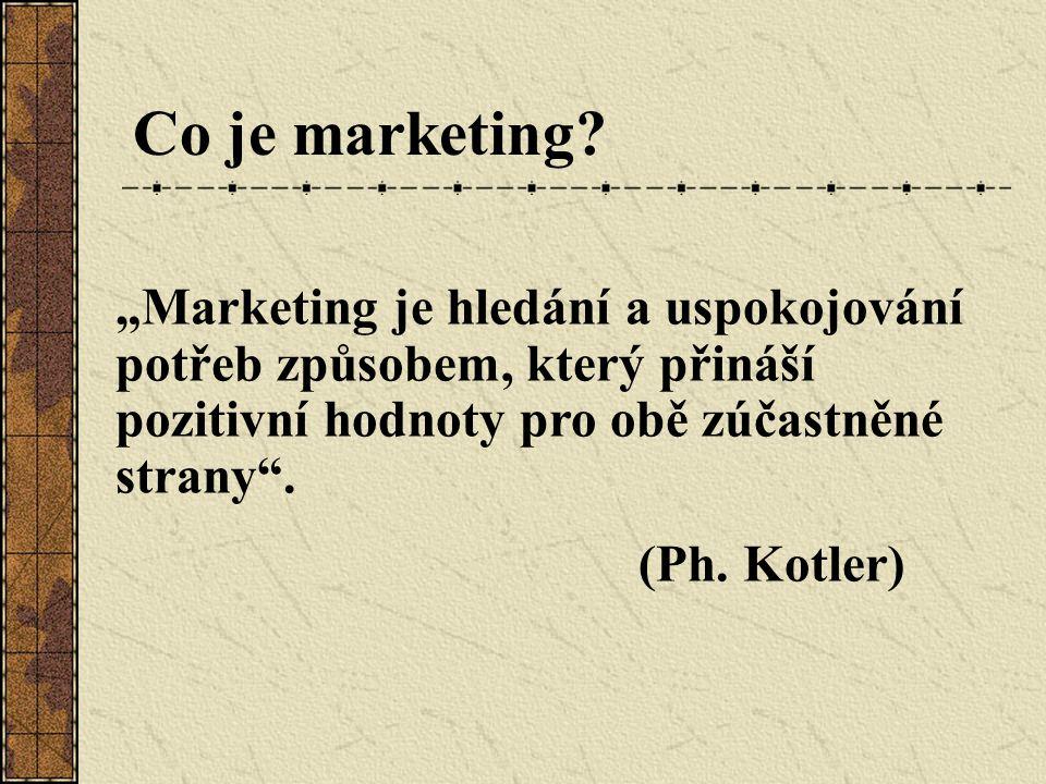 """Co je marketing """"Marketing je hledání a uspokojování potřeb způsobem, který přináší pozitivní hodnoty pro obě zúčastněné strany ."""