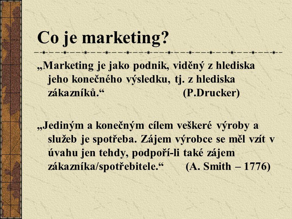 """Co je marketing """"Marketing je jako podnik, viděný z hlediska jeho konečného výsledku, tj. z hlediska zákazníků. (P.Drucker)"""