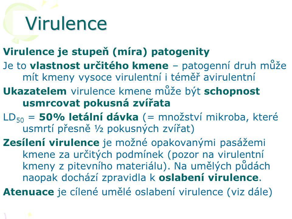Virulence Virulence je stupeň (míra) patogenity