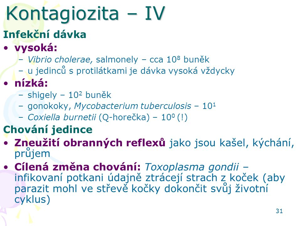 Kontagiozita – IV Infekční dávka vysoká: nízká: Chování jedince