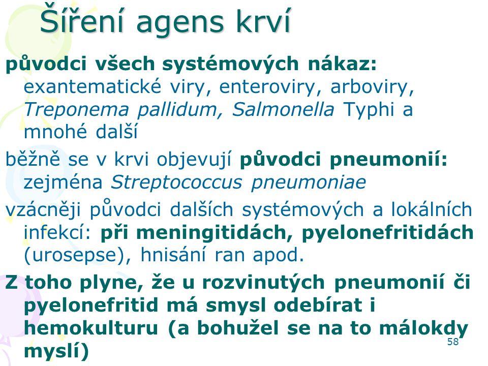 Šíření agens krví původci všech systémových nákaz: exantematické viry, enteroviry, arboviry, Treponema pallidum, Salmonella Typhi a mnohé další.