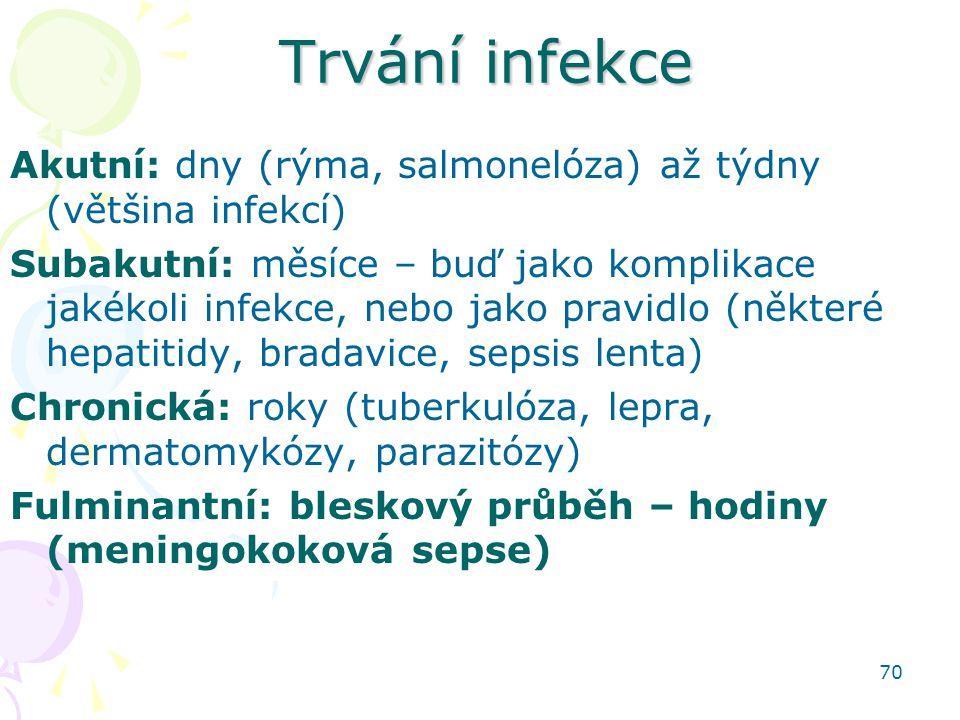 Trvání infekce Akutní: dny (rýma, salmonelóza) až týdny (většina infekcí)