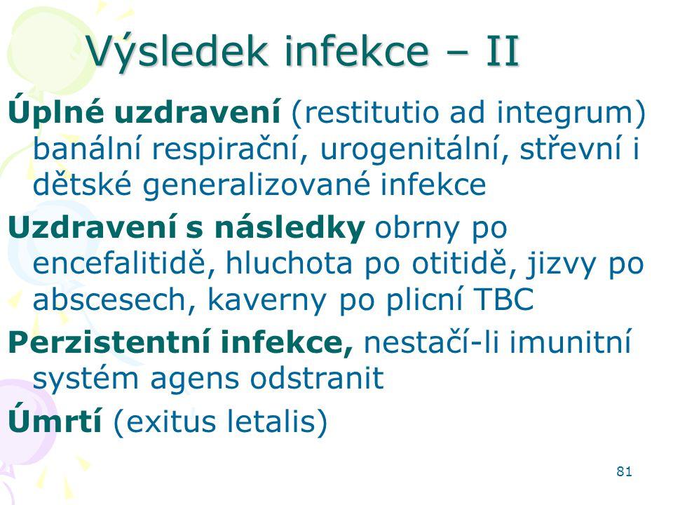Výsledek infekce – II Úplné uzdravení (restitutio ad integrum) banální respirační, urogenitální, střevní i dětské generalizované infekce.