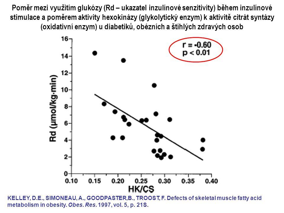 Poměr mezi využitím glukózy (Rd – ukazatel inzulínové senzitivity) během inzulínové stimulace a poměrem aktivity hexokinázy (glykolytický enzym) k aktivitě citrát syntázy (oxidativní enzym) u diabetiků, obézních a štíhlých zdravých osob