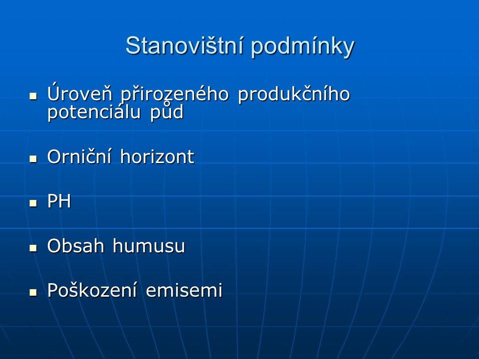 Stanovištní podmínky Úroveň přirozeného produkčního potenciálu půd