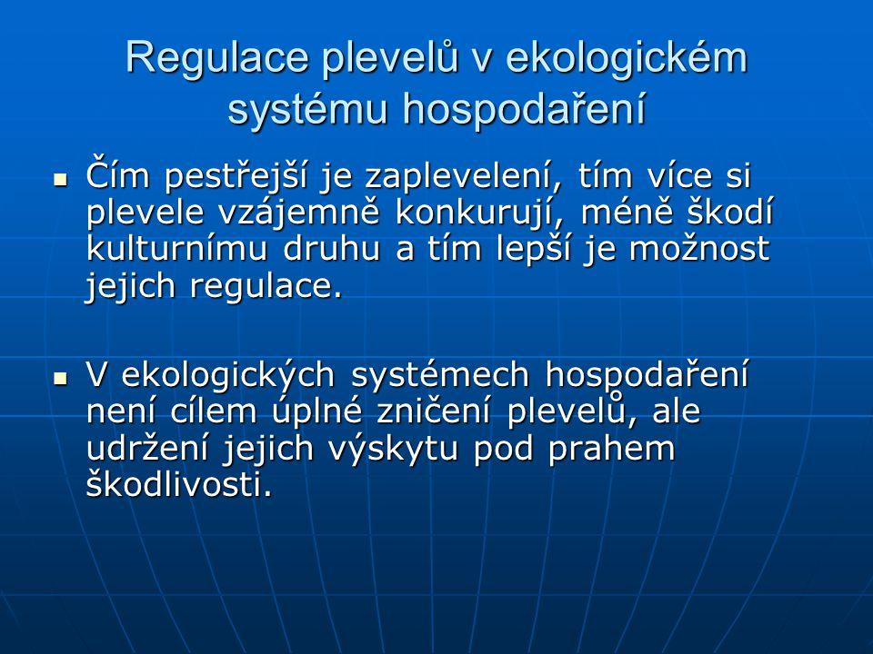 Regulace plevelů v ekologickém systému hospodaření