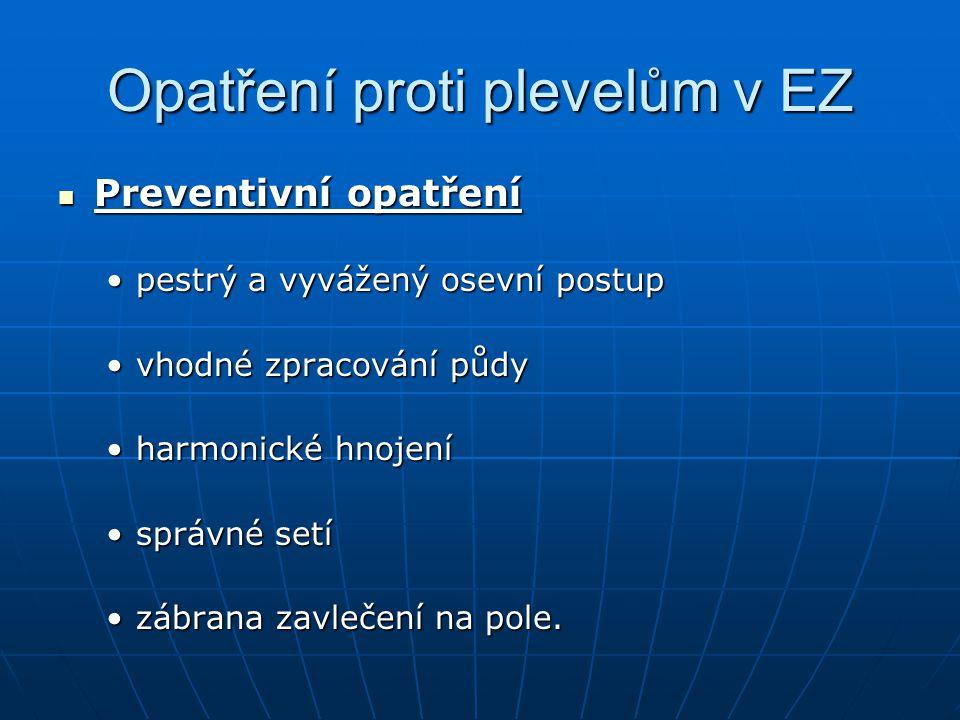 Opatření proti plevelům v EZ