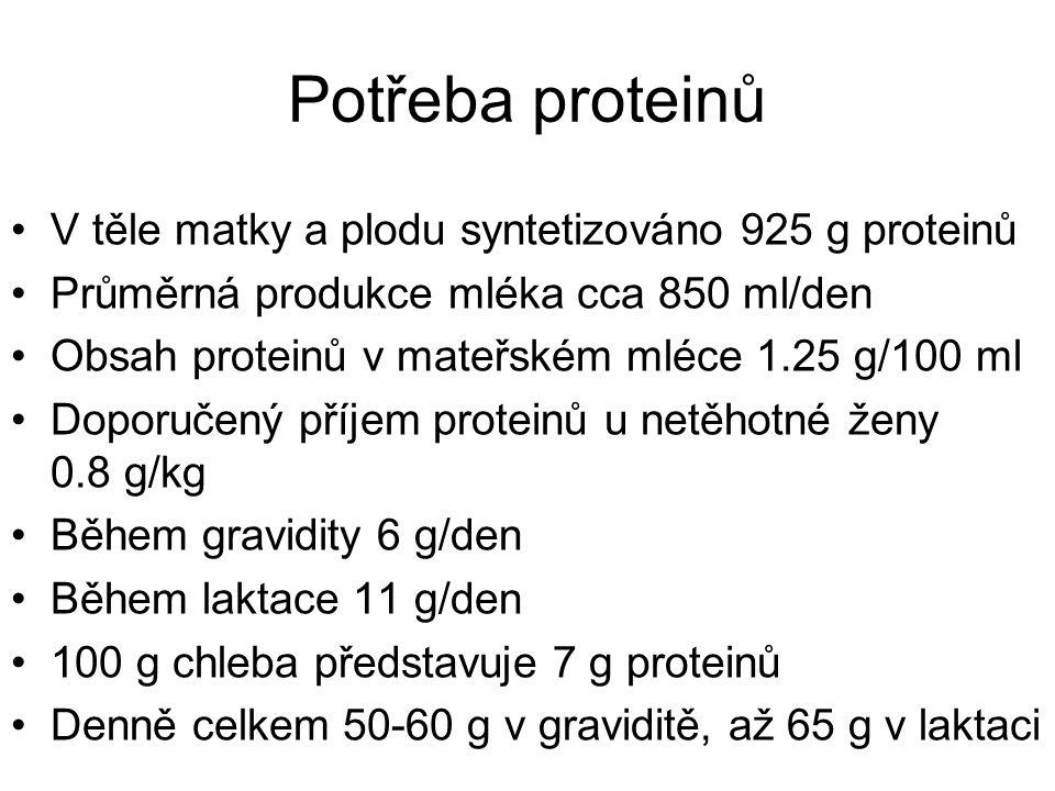 Potřeba proteinů V těle matky a plodu syntetizováno 925 g proteinů