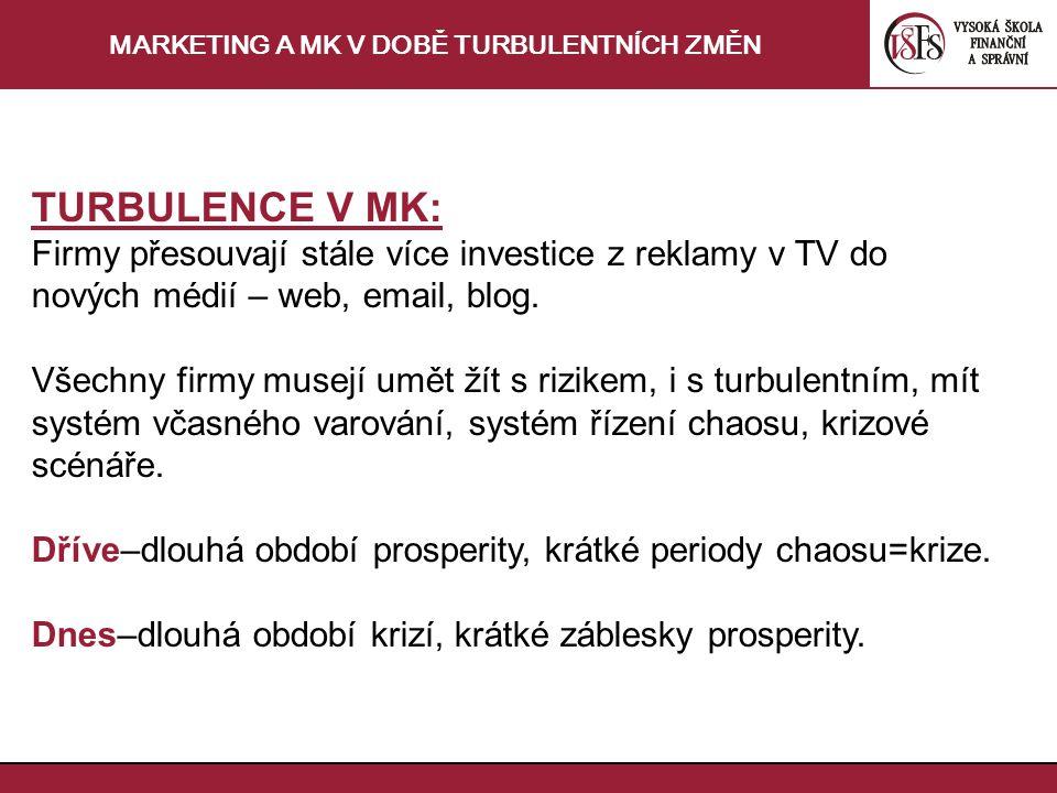 MARKETING A MK V DOBĚ TURBULENTNÍCH ZMĚN