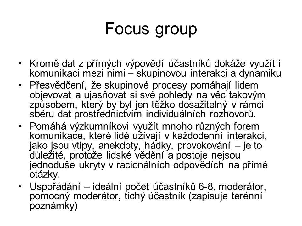 Focus group Kromě dat z přímých výpovědí účastníků dokáže využít i komunikaci mezi nimi – skupinovou interakci a dynamiku.
