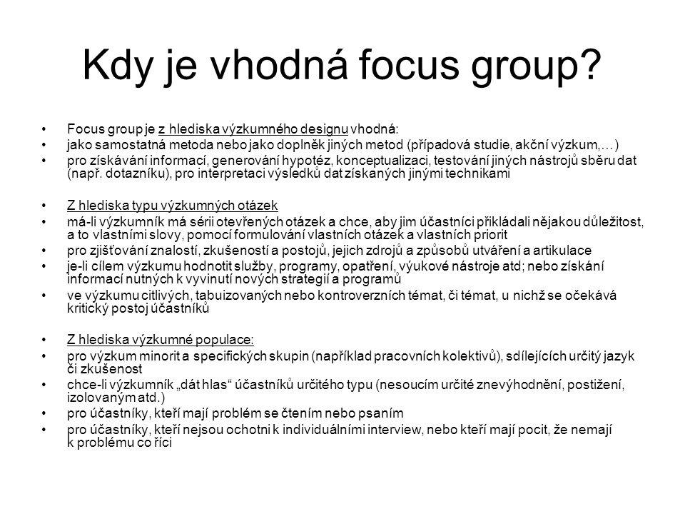 Kdy je vhodná focus group