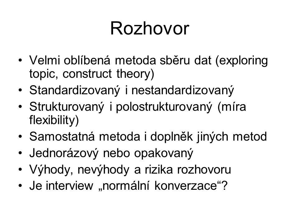 Rozhovor Velmi oblíbená metoda sběru dat (exploring topic, construct theory) Standardizovaný i nestandardizovaný.