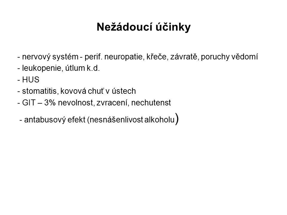 Nežádoucí účinky - nervový systém - perif. neuropatie, křeče, závratě, poruchy vědomí. - leukopenie, útlum k.d.