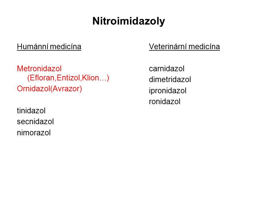 Nitroimidazoly Humánní medicína Metronidazol (Efloran,Entizol,Klion…)