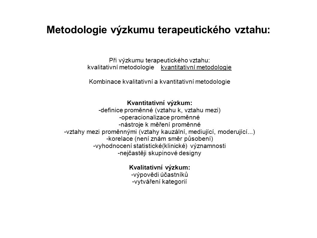 Metodologie výzkumu terapeutického vztahu: