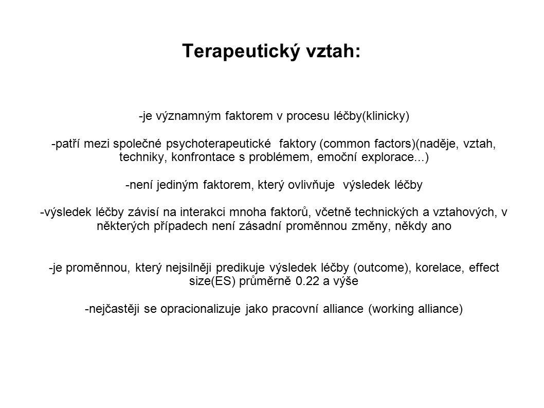 Terapeutický vztah: -je významným faktorem v procesu léčby(klinicky)