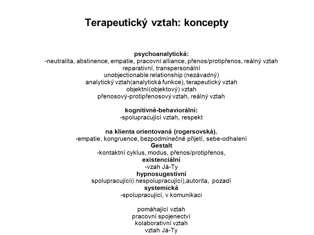 Terapeutický vztah: koncepty