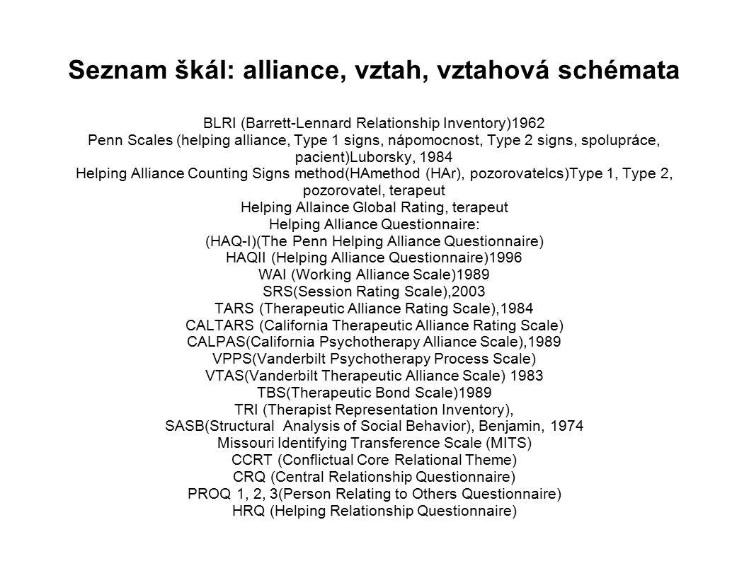 Seznam škál: alliance, vztah, vztahová schémata