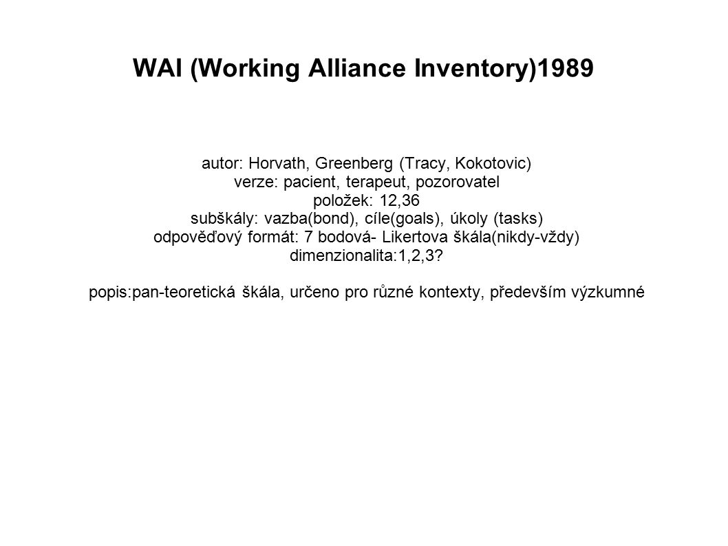 WAI (Working Alliance Inventory)1989