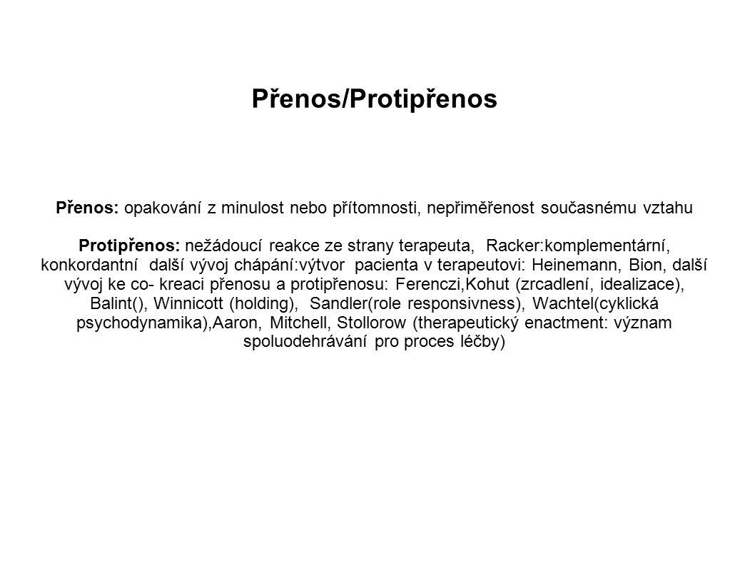 Přenos/Protipřenos Přenos: opakování z minulost nebo přítomnosti, nepřiměřenost současnému vztahu.