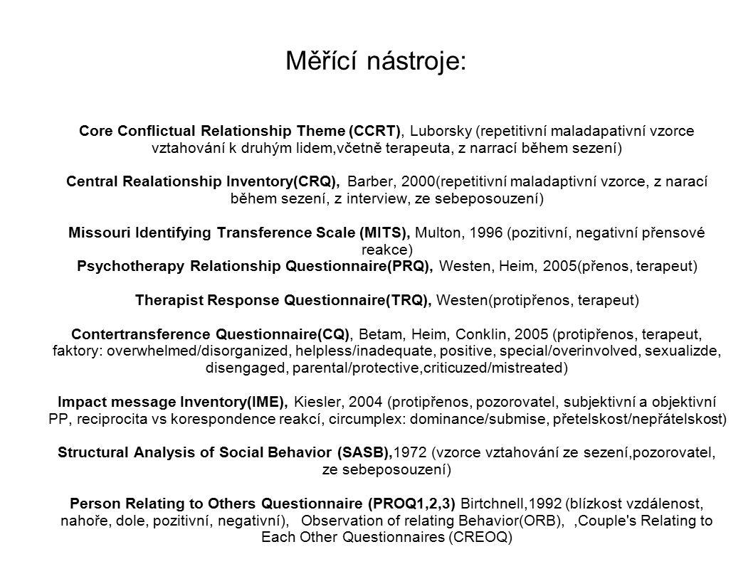 Therapist Response Questionnaire(TRQ), Westen(protipřenos, terapeut)